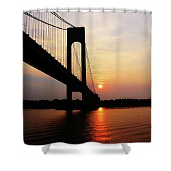 Verrazano Bridge At Dawn Shower Curtain by Susan Savad