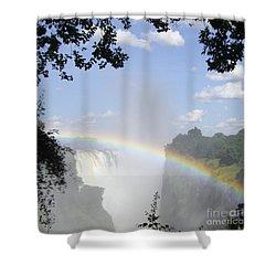 Victoria Falls Rainbow Shower Curtain by Barbie Corbett-Newmin