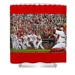 Victory - St Louis Cardinals Win The World Series Title - Friday Oct 28th 2011 Shower Curtain by Dan Haraga