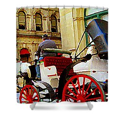 Vieux Port Caleche Scene White Horse Red Wheels Trots Along Cobbled Stones Streets Carole Spandau  Shower Curtain by Carole Spandau