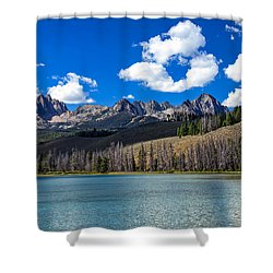 View From Little Redfish Lake Shower Curtain by Robert Bales