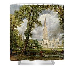 View Of Salisbury Cathedral From The Bishop's Grounds Shower Curtain by John Constable