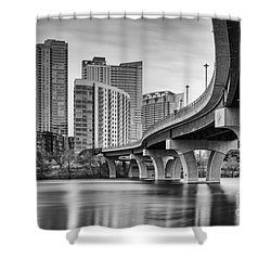 View Of The James D. Pfluger Pedestrian Bridge Over Lady Bird Lake - Austin Texas Hill Country Shower Curtain by Silvio Ligutti