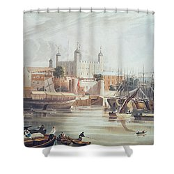 View Of The Tower Of London Shower Curtain by John Gendall