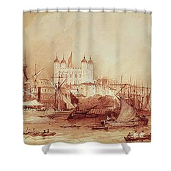 View Of The Tower Of London Shower Curtain by William Parrott