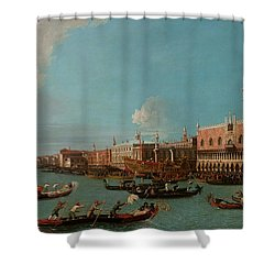 View Of Venice With The Doge Palace And The Salute Shower Curtain by Canaletto