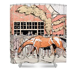 Viewing The Racehorse In The Paddock Shower Curtain by Thelem