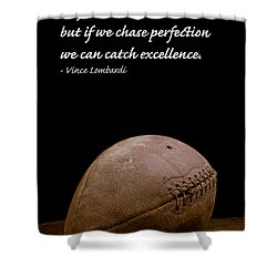 Vince Lombardi On Perfection Shower Curtain by Edward Fielding