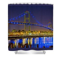 Vincent Thomas Bridge - Nightside Shower Curtain by Jim Carrell