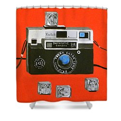 Vintage Camera With Flash Cube Shower Curtain by Karyn Robinson