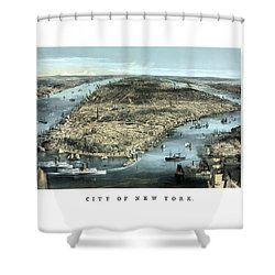 Vintage City Of New York Shower Curtain by War Is Hell Store