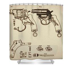 Vintage Colt Revolver Drawing Shower Curtain by Nenad Cerovic