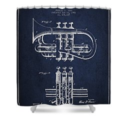 Cornet Patent Drawing From 1901 - Blue Shower Curtain by Aged Pixel