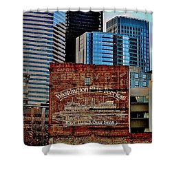 Vintage Ferry Advertisement Shower Curtain by Benjamin Yeager