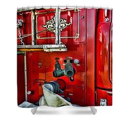 Vintage Fire Truck Shower Curtain by Paul Ward