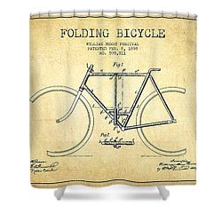 Vintage Folding Bicycle Patent From 1898 - Vintage Shower Curtain by Aged Pixel