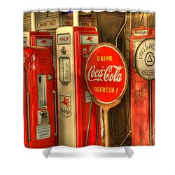 Vintage Gasoline Pumps With Coca Cola Sign Shower Curtain by Bob Christopher