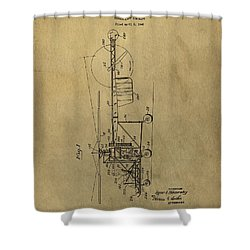 Vintage Helicopter Patent Shower Curtain by Dan Sproul