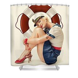 Vintage Lady Shower Curtain by Cindy Grundsten