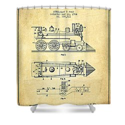 Vintage Locomotive Patent From 1904 - Vintage Shower Curtain by Aged Pixel