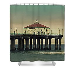 Vintage Manhattan Beach Pier Shower Curtain by Kim Hojnacki