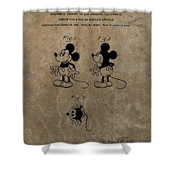 Vintage Mickey Mouse Patent Shower Curtain by Dan Sproul