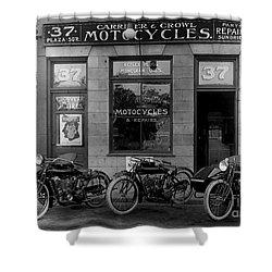 Vintage Motorcycle Dealership Shower Curtain by Jon Neidert