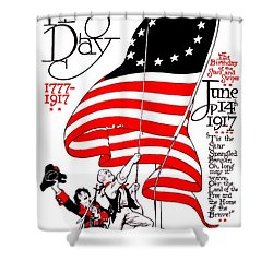 Vintage Poster - America - Flag Day 1917 Shower Curtain by Benjamin Yeager