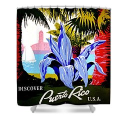 Vintage Poster - Puerto Rico Shower Curtain by Benjamin Yeager