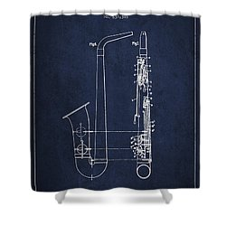 Saxophone Patent Drawing From 1899 - Blue Shower Curtain by Aged Pixel