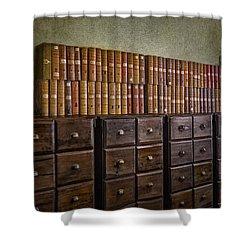 Vintage Storage Shower Curtain by Susan Candelario