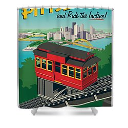 Vintage Style Pittsburgh Incline Travel Poster Shower Curtain by Jim Zahniser