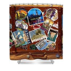 Vintage Travel Case Shower Curtain by Garry Walton