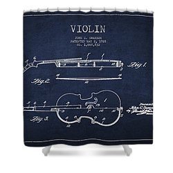 Vintage Violin Patent Drawing From 1928 Shower Curtain by Aged Pixel