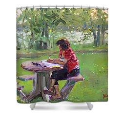 Viola - The Math Teacher Shower Curtain by Ylli Haruni