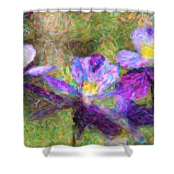 Violet Flowers Shower Curtain by Toppart Sweden