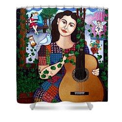Violeta Parra Back At Seventeen   Shower Curtain by Madalena Lobao-Tello
