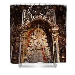 Virgen Del Rocio Reredos In Seville Cathedral Shower Curtain by Artur Bogacki