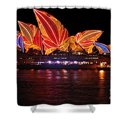 Vivid Sydney By Kaye Menner - Opera House ... Leaves Shower Curtain by Kaye Menner