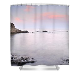 Volcanic Pink Sunset Shower Curtain by Guido Montanes Castillo