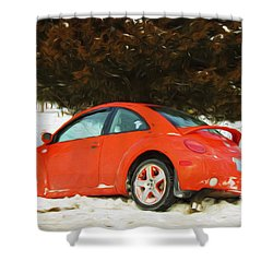 Volkswagen Snow Day Shower Curtain by Andee Design