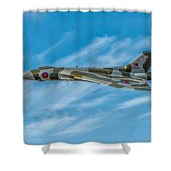 Vulcan Bomber Shower Curtain by Adrian Evans