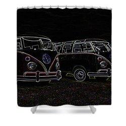 Vw Microbus Glow Shower Curtain by Steve McKinzie