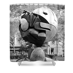W T C Fountain Sphere In Black And White Shower Curtain by Rob Hans