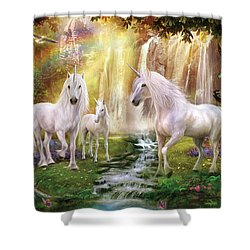 Waaterfall Glade Unicorns Shower Curtain by Jan Patrik Krasny