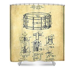 Waechtler Snare Drum Patent Drawing From 1910 - Vintage Shower Curtain by Aged Pixel