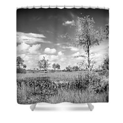 Wagon Wheel Road Bw Shower Curtain by Rudy Umans