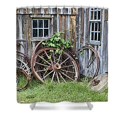 Wagon Wheels In Color Shower Curtain by Crystal Nederman