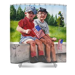Waiting For The Parade Shower Curtain by Lori Brackett