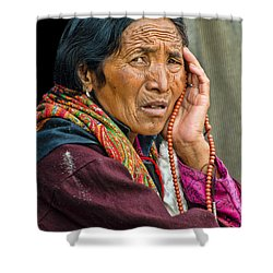 Waiting In Dharamsala For The Dalai Lama Shower Curtain by Don Schwartz
